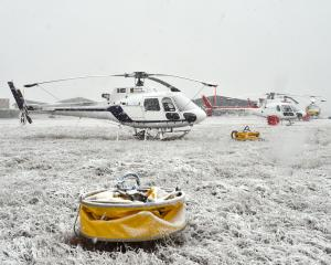 Grounded firefighting helicopters at Pukaki Airport yesterday morning. PHOTOS: GREGOR RICHARDSON