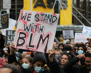 Protesters marched in NZ in support of the Black Lives Matter movement in the US on June 1. Photo...