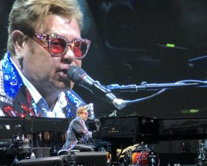 Sir Elton John performing to a packed Forsyth Barr Stadium in Dunedin in February. Photo: Supplied