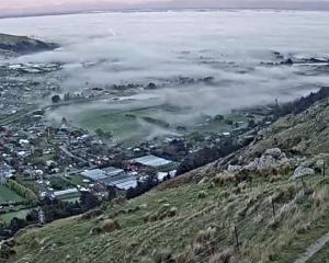 Fog rolls in on Christchurch this morning. Photo: Christchurch Transport Operations Centre