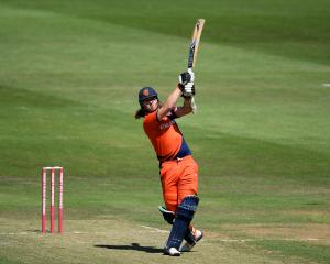 Max O'Dowd goes over the top for the Netherlands against Glamorgan last year in Cardiff. Photo:...