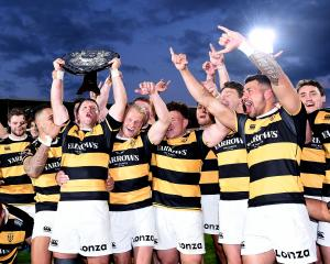 Taranaki celebrate their epic Ranfurly Shield win over Canterbury. Photo: Getty Images