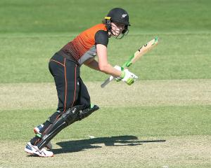 White Ferns vice-captain Amy Satterthwaite plays a shot during a practice match against Australia...