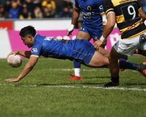 Otago first five-eighth Josh Ioane scores a crucial try on the hour mark in the Ranfurly Shield...
