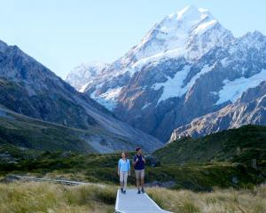 The Hooker Valley Track with Aoraki Mt Cook in  the background.