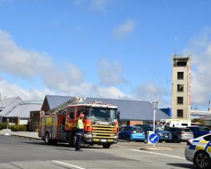 Emergency services clear the scene of a crash outside the Invercargill Fire and Ambulance Centre....