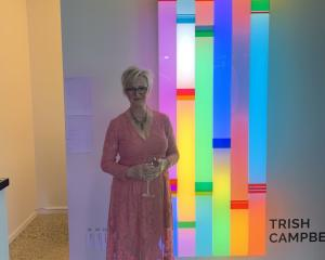 Trish Campbell with her light art. PHOTOS: SUPPLIED