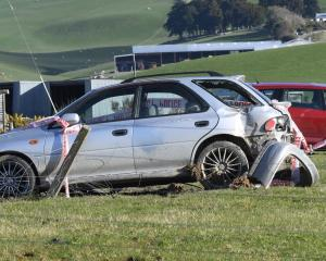 The scene of the crash in South Otago on Saturday. Photo: Stephen Jaquiery