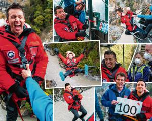 The many faces of Jason Medina at Shotover Canyon Swing on Thursday: with Queenstown police...