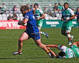 Otago hooker Liam Coltman makes a break against Manawatu during their Mitre 10 Cup match in...