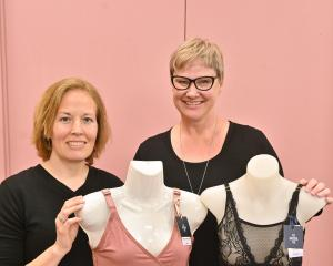 Andrea Samson (left) and Lucy Warren are importers of lingerie for breast cancer survivors. PHOTO...