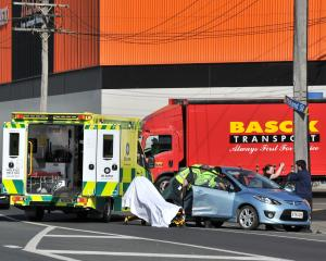 Emergency services at the scene this morning. Photo: ODT