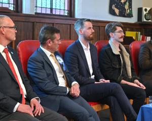 Dunedin parliamentary candidates (from left) David Clark (Labour), Michael Woodhouse (National),...