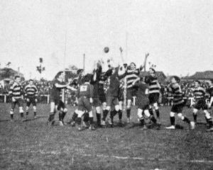 Scene of play in a representative rugby match in which Otago defeated Wanganui 34-9. — Otago...