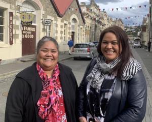 Silou Temoana and Hana Halalele in Oamaru's historic Victorian precinct. Photo: RNZ Pacific