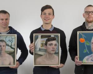 Rhys Gardener (left), Kyle De Koning and Matt Wilson  with the portraits painted by  Anton...