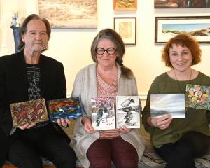 Artists (from left) Roger Weston, Pauline Bellamy and Anne Baldock with some of their work for...