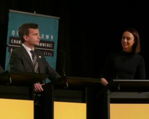 ACT leader David Seymour, and MC Tova O'Brien. PHOTO: TRACEY ROXBURGH