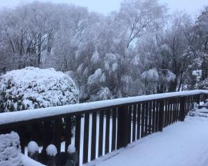 A snowy Ranfurly this morning. Photo: Maureen Miller