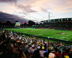 General view as the sun sets during the 2018 New Zealand Sevens at FMG Stadium in Hamilton. Photo...