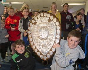 Felix Newell (11, left), and Aaron Hill (10) say it was amazing to get to hold the Ranfurly...