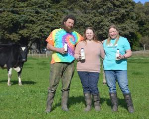 Steve Mears, daughter Katie and wife Shelli Mears, of Palmerston, launched their Otago Fresh Milk...
