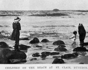 Children on the beach at St Clair, Dunedin. — Otago Witness, 21.9.1920. 