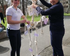 University of Otago School of Physiotherapy third-year students Julia Law (21, left), of Kapiti,...