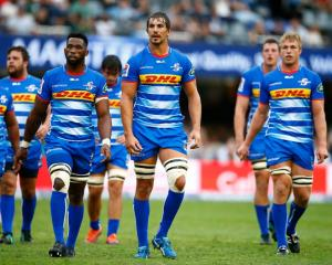 Stormers players (from left) Siya Kolisi, Eben Etzebeth and Pieter-Steph du Toit lead the way...