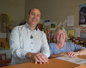 Saddle Hill Foundation Trust executive officer Andy Doncaster and Mosgiel Food Bank co-ordinator...