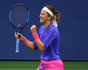Victoria Azarenka celebrates her quarterfinal win at the US Open. Photo: Reuters