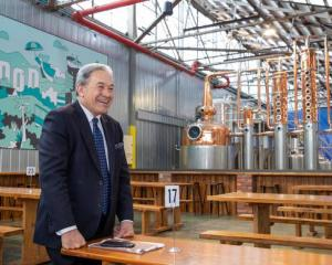 NZ First Winston Peters in the Wild Kiwi Distillery during his visit to Brewtown in Upper Hutt....