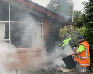Members of the public David Thode and Jason Rosie work to bring a blaze under control that was...