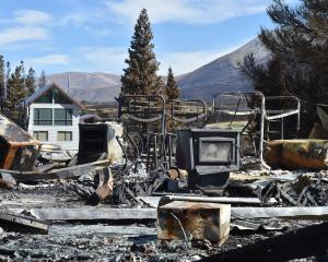 The charred remains of a property at Lake Ohau after the fire. PHOTO: PETER MCINTOSH
