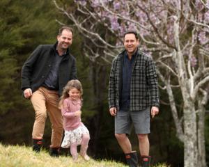 Ryan Harding, Ryan's daughter Sophia and Matt O'Rourke at Matt's property in Coatesville. Photo:...
