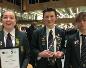 Bayfield High School Young Enterprise Scheme team Abalro (from left, Abby Green, Robert Donohoe,...