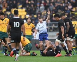 Referee Paul Williams awards a penalty during the weekend's Bledisloe Cup test. Photo: Getty Images