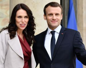 Jacinda Ardern and Emmanuel Macron in Paris. Photo: Getty Images