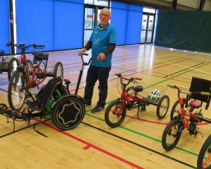 Trikes NZ owner Brian Gilbert with some of the trikes at the Ashburton roadshow. Photo: Ashburton...