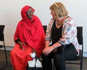 Former Somalian refugee Marian Hussein talks with Ashburton Deputy Mayor Liz McMillan at Saturday...