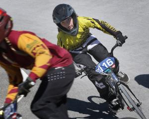 Aida Begg (10), of the Kaitangata Black Gold BMX Club, holds her line as she races at the New...