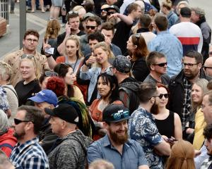 Hundreds are lining up to get into the stadium for this year's Dunedin Craft Beer and Food...