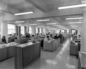 The Bonus Bonds Centre at the Chief Post Office, Dunedin, in the 1970s.