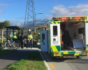 Police speak to witnesses after a girl was hit by a car in Shotover Country this morning. Photo:...
