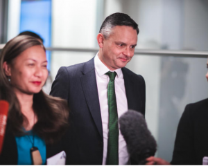 Green Party leaders Marama Davidson and James Shaw emerge from talks with Labour. Photo: RNZ