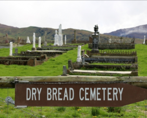 Drybread Cemetery, at the foot of the Dunstan Range. Photo: RNZ