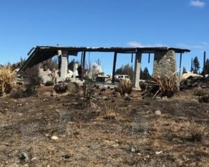 Remnant framework of a Lake Ōhau Village home. Photo: Supplied via RNZ