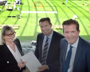 Dunedin Venues Management Ltd chairwoman Raewyn Lovett, Forsyth Barr managing director Neil...