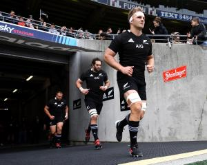 Sam Cane leads the All Blacks out in Wellington. Photo: Getty Images