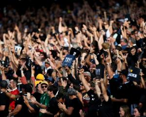 Fans celebrate during the second Bledisloe Cup match in Auckland earlier this month. Photo: Getty